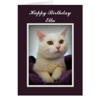 Ella Happy Birthday White Cat Card