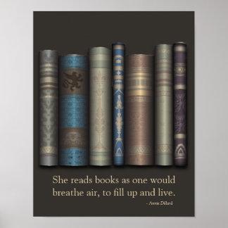 Ella lee los libros para vivir poster del aficiona