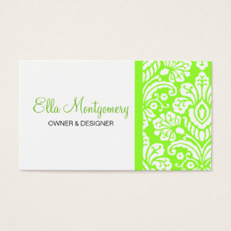 Ella Lime Damask Chic Business Card