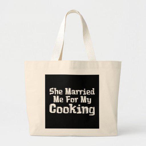 Ella me casó para mis regalos de cocinar bolsa tela grande
