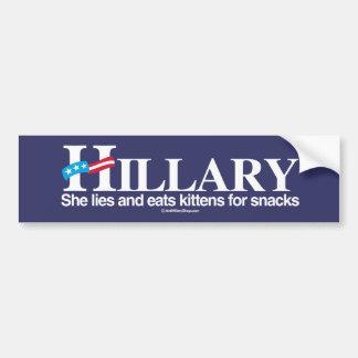 Ella miente y come los gatitos - Anti-Hillary - el Pegatina Para Auto