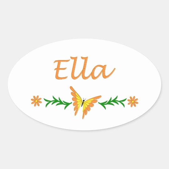 Ella (Orange Butterfly) Oval Sticker