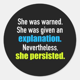 Ella persistió Elizabeth Warren Pegatina Redonda