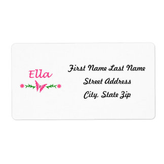 Ella (Pink Butterfly) Custom Shipping Label