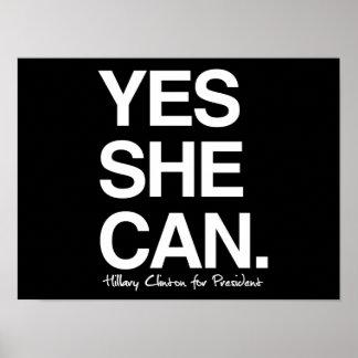 Ella puede sí - Hillary para el presidente - cita Póster