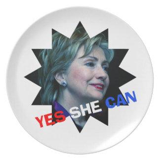 Ella puede sí - placa decorativa - Hillary Clinton Platos De Comidas