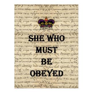 Ella que debe ser obedecida postales