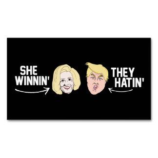 Ella que gana ellos Hatin - - .png Tarjetas De Visita Magnéticas (paquete De 25)