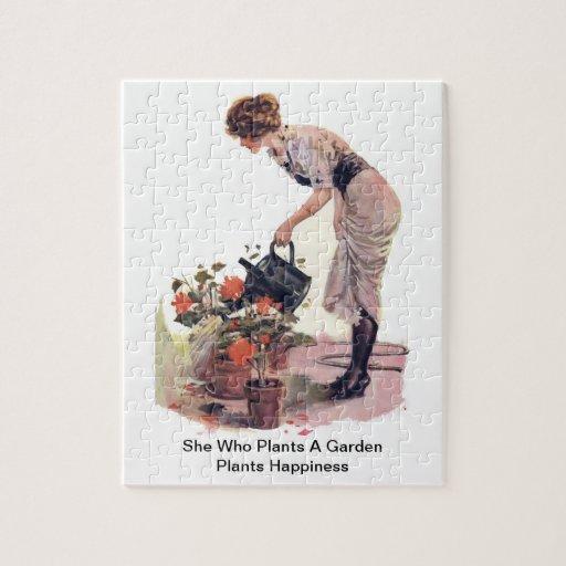 Ella que planta una felicidad de las plantas de ja rompecabeza