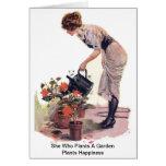Ella que planta una felicidad de las plantas de ja felicitación