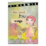 ella se colocaba en tarjeta surrealista de las ala