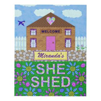 Ella vertió nombre personalizado choza del jardín cuadro