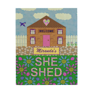 Ella vertió nombre personalizado choza del jardín impresión en madera