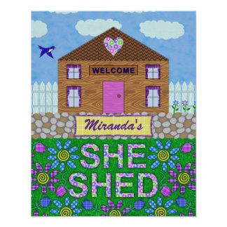 Ella vertió nombre personalizado choza del jardín póster