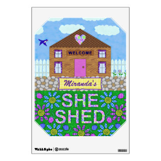 Ella vertió nombre personalizado choza del jardín vinilo decorativo