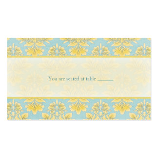 Elle Light Blue Damask Wedding Place Card Business Card