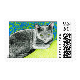Elle the Korat Cat Postage Stamp