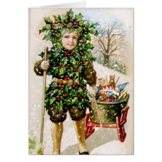 Ellen Clapsaddle: Holly Boy with Toys Card