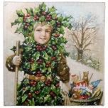 Ellen Clapsaddle: Holly Boy with Toys Cloth Napkin