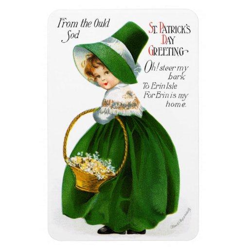 Ellen Clapsaddle's St. Patrick's Day Girl Rectangular Magnet
