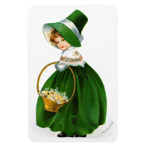 Ellen Clapsaddle's St. Patrick's Day Girl Rectangular Photo Magnet