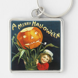 Ellen H. Clapsaddle: A Merry Halloween Silver-Colored Square Keychain