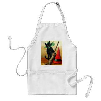 Ellen H. Clapsaddle: Black Cat, Broom and Hat Adult Apron