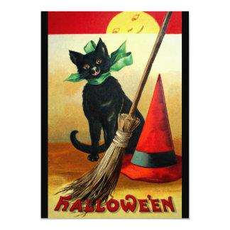 Ellen H. Clapsaddle: Black Cat, Broom and Hat 5x7 Paper Invitation Card