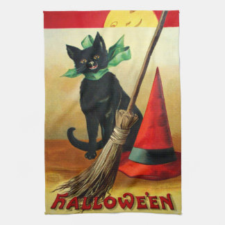 Ellen H Clapsaddle Black Cat Broom and Hat Kitchen Towel