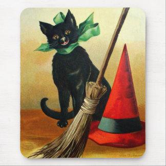 Ellen H. Clapsaddle: Black Cat, Broom and Hat Mouse Pad