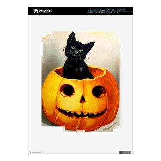 Ellen H Clapsaddle Black Cat in Jack O Lantern Decals For iPad 3