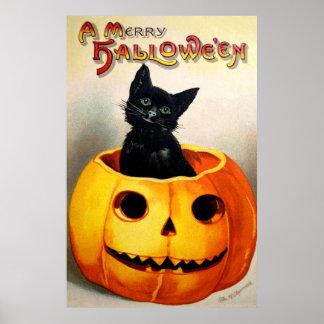 Ellen H. Clapsaddle: Black Cat in Jack O'Lantern Poster