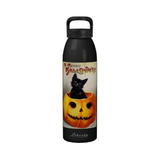 Ellen H. Clapsaddle: Black Cat in Jack O'Lantern Drinking Bottles
