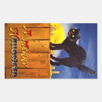 Ellen H. Clapsaddle: Black Cat on a Fence Rectangular Sticker