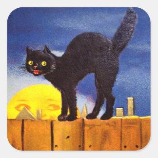 Ellen H. Clapsaddle: Black Cat on a Fence Square Sticker