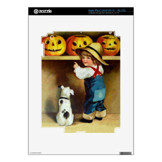 Ellen H Clapsaddle Boy Dog and Jack O Lanterns iPad 3 Skins