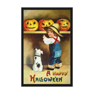 Ellen H. Clapsaddle: Boy, Dog and Jack O'Lanterns Canvas Print