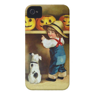 Ellen H. Clapsaddle: Boy, Dog and Jack O'Lanterns iPhone 4 Cover