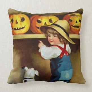 Ellen H. Clapsaddle: Boy, Dog and Jack O'Lanterns Throw Pillows