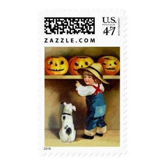 Ellen H. Clapsaddle: Boy, Dog and Jack O'Lanterns Postage