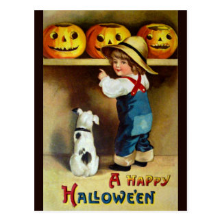 Ellen H. Clapsaddle: Boy, Dog and Jack O'Lanterns Postcard