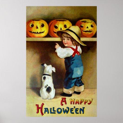 Ellen H. Clapsaddle: Boy, Dog and Jack O'Lanterns Poster