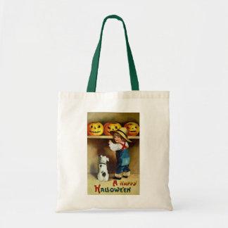 Ellen H. Clapsaddle: Boy, Dog and Jack O'Lanterns Tote Bag