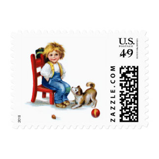 Ellen H. Clapsaddle: Boy with Dog Postage
