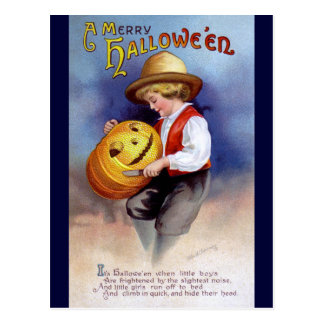 Ellen H Clapsaddle Boy with Jack O Lantern 2 Postcard