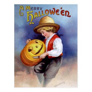 Ellen H Clapsaddle Boy with Jack O Lantern 2 Postcards