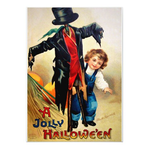 "Ellen H. Clapsaddle: Boy with Scarecrow 5"" X 7"" Invitation Card"