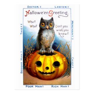 Ellen H. Clapsaddle: Búho de Halloween Tarjeta Postal