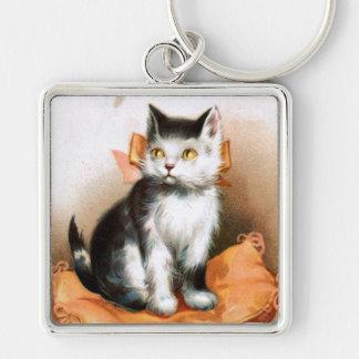 Ellen H. Clapsaddle: Cat under Mistletoe Silver-Colored Square Keychain