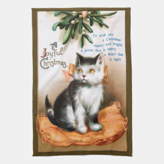 Ellen H. Clapsaddle: Cat under Mistletoe Kitchen Towel